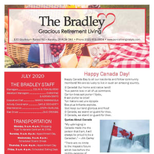 July The Bradley Gracious Retirement Living Newsletter