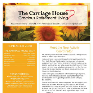 September newsletter at The Carriage House Gracious Retirement Living in Oxford, Florida