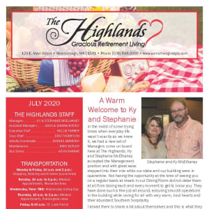 July The Highlands Gracious Retirement Living Newsletter