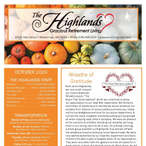 October newsletter at The Highlands Gracious Retirement Living in Westborough, Massachusetts