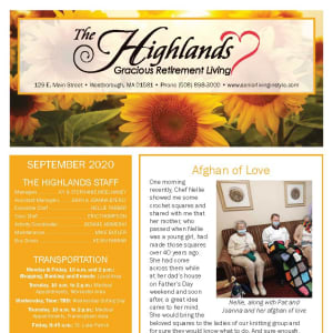 September newsletter at The Highlands Gracious Retirement Living in Westborough, Massachusetts