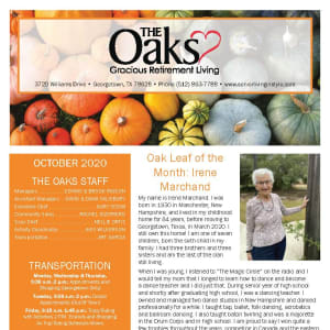 October newsletter at The Oaks Gracious Retirement Living in Georgetown, Texas