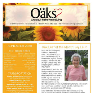 September newsletter at The Oaks Gracious Retirement Living in Georgetown, Texas