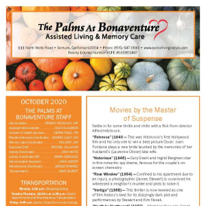 October newsletter at The Palms at Bonaventure Assisted Living and Memory Care in Ventura, California