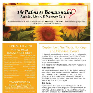 September newsletter at The Palms at Bonaventure Assisted Living and Memory Care in Ventura, California