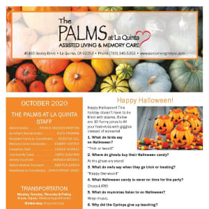 October newsletter at The Palms at La Quinta Assisted Living and Memory Care in La Quinta, California