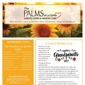 September newsletter at The Palms at La Quinta Assisted Living and Memory Care in La Quinta, California