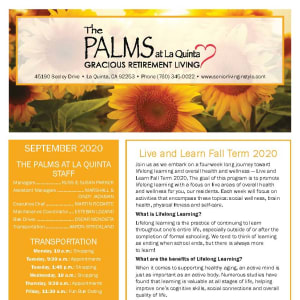 September newsletter at The Palms at LaQuinta Gracious Retirement Living in La Quinta, California