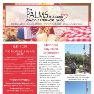 July The Palms at LaQuinta Gracious Retirement Living Newsletter