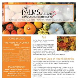 October newsletter at The Palms at LaQuinta Gracious Retirement Living in La Quinta, California