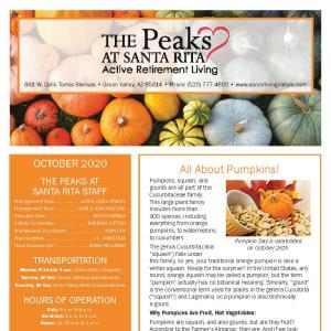 October newsletter at The Peaks at Santa Rita in Green Valley, Arizona