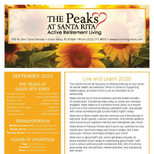 September newsletter at The Peaks at Santa Rita in Green Valley, Arizona