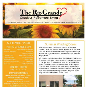 September newsletter at The Rio Grande Gracious Retirement Living in Rio Rancho, New Mexico