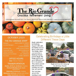 October newsletter at The Rio Grande Gracious Retirement Living in Rio Rancho, New Mexico