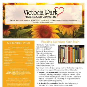 September newsletter at Victoria Park Personal Care Home in Regina, Saskatchewan