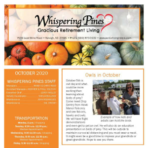 October newsletter at Whispering Pines Gracious Retirement Living in Raleigh, North Carolina