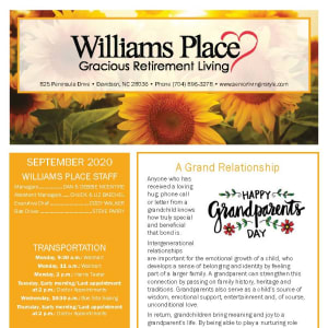 September newsletter at Williams Place Gracious Retirement Living in Davidson, North Carolina