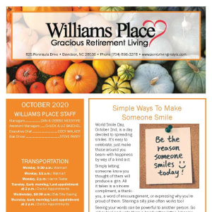 October newsletter at Williams Place Gracious Retirement Living in Davidson, North Carolina