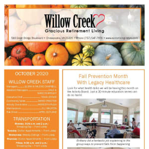 October newsletter at Willow Creek Gracious Retirement Living in Chesapeake, Virginia