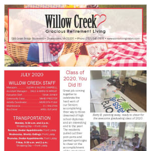 July Willow Creek Gracious Retirement Living Newsletter