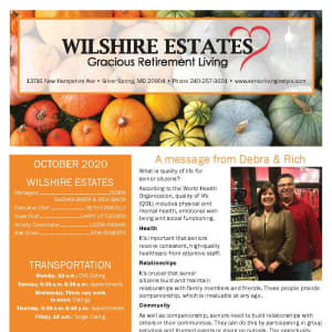 October newsletter at Wilshire Estates Gracious Retirement Living in Silver Spring, Maryland
