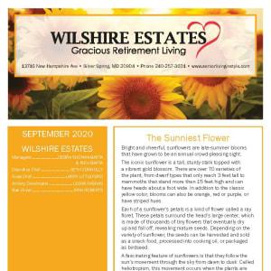 September newsletter at Wilshire Estates Gracious Retirement Living in Silver Spring, Maryland