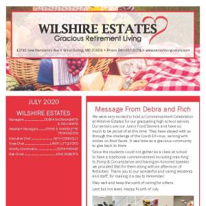 July Wilshire Estates Gracious Retirement Living Newsletter