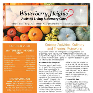 October newsletter at Winterberry Heights Assisted Living and Memory Care in Bangor, Maine