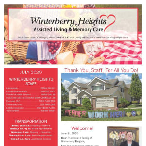 July Winterberry Heights Assisted Living and Memory Care Newsletter