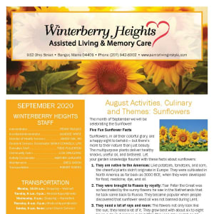 September newsletter at Winterberry Heights Assisted Living and Memory Care in Bangor, Maine