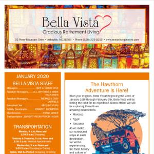 January newsletter at BellaVista Gracious Retirement Living in Asheville, North Carolina