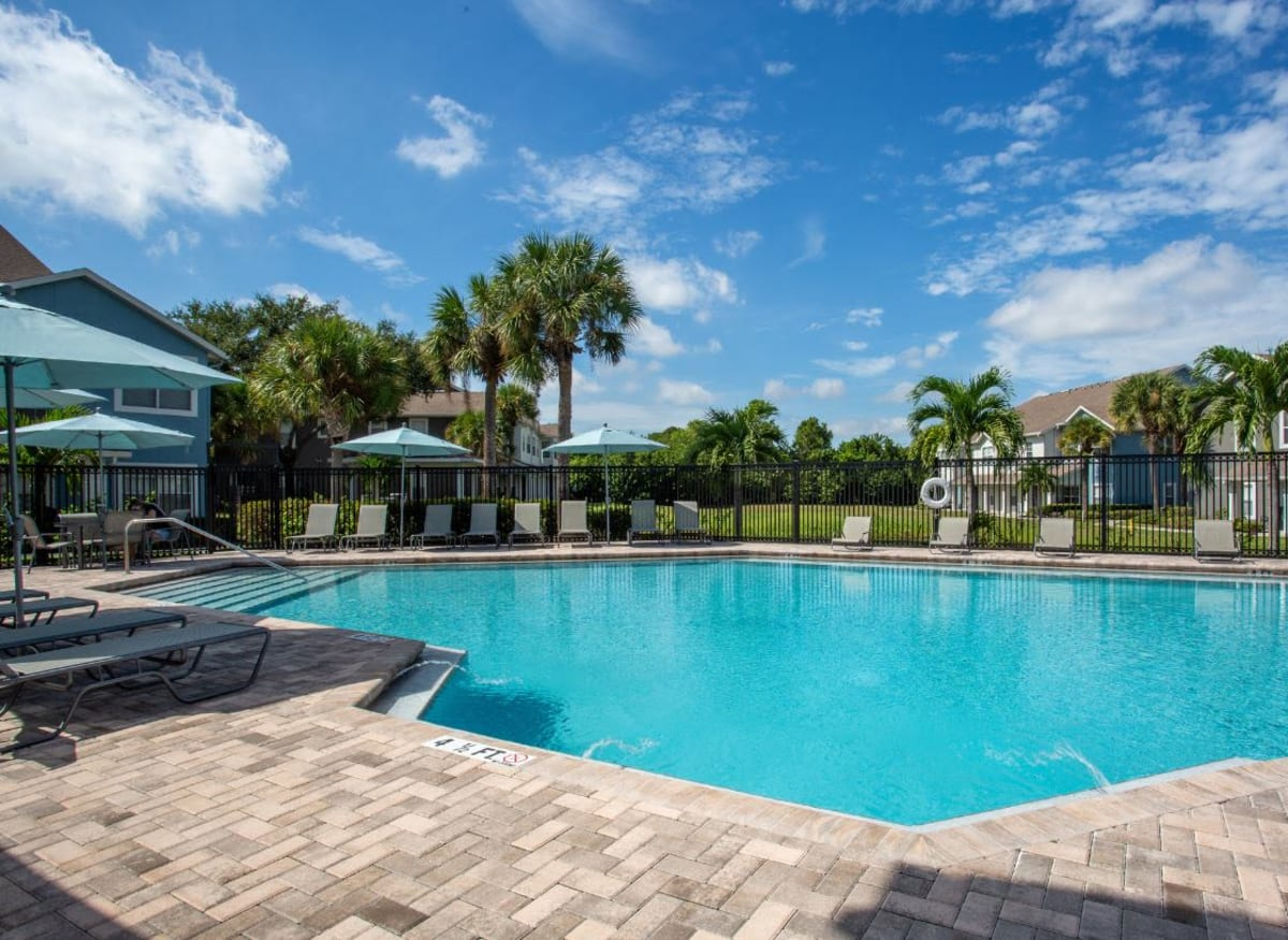 A sparkling pool at Calais Park Apartments in St Petersburg, Florida
