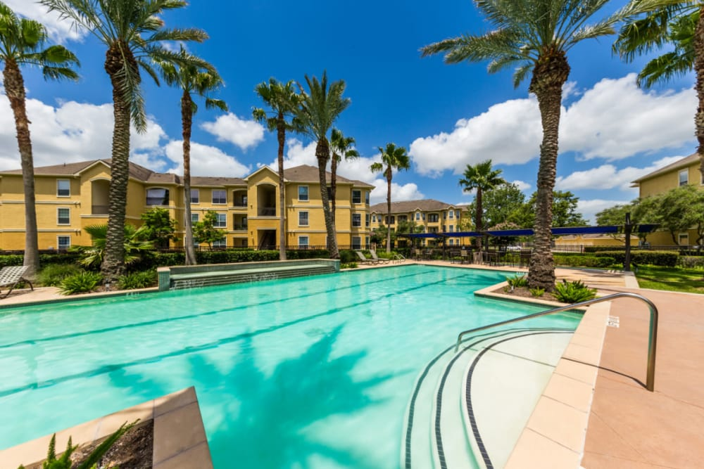 Resort style pool with water features at Marquis at Clear Lake in Webster, Texas