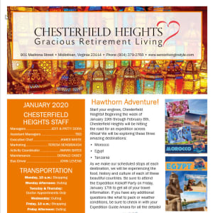 January Chesterfield Heights Newsletter
