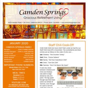 January Camden Springs Gracious Retirement Living Newsletter
