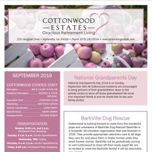 September Cottonwood Estates Gracious Retirement Living Newsletter