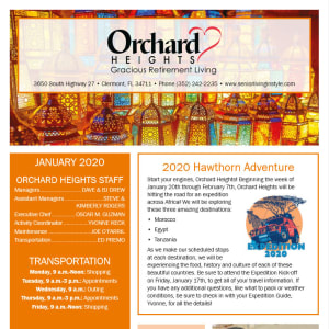 January Orchard Heights Gracious Retirement Living Newsletter