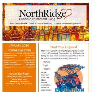 January Northridge Gracious Retirement Living Newsletter