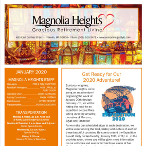 January Magnolia Heights Gracious Retirement Living Newsletter