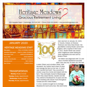 January Heritage Meadows Gracious Retirement Living Newsletter