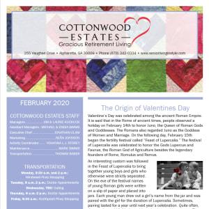 February Cottonwood Estates Gracious Retirement Living Newsletter
