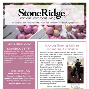 September Stoneridge Gracious Retirement Living Newsletter
