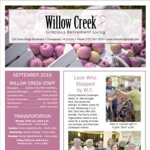 September Willow Creek Gracious Retirement Living Newsletter