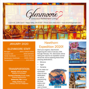 January Glenmoore Gracious Retirement Living Newsletter