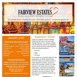January Fairview Estates Gracious Retirement Living Newsletter