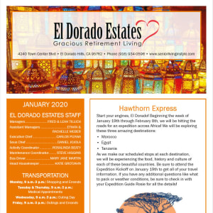 January El Dorado Estates Gracious Retirement Living Newsletter