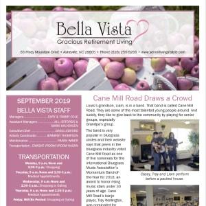 September newsletter at BellaVista Gracious Retirement Living in Asheville, North Carolina