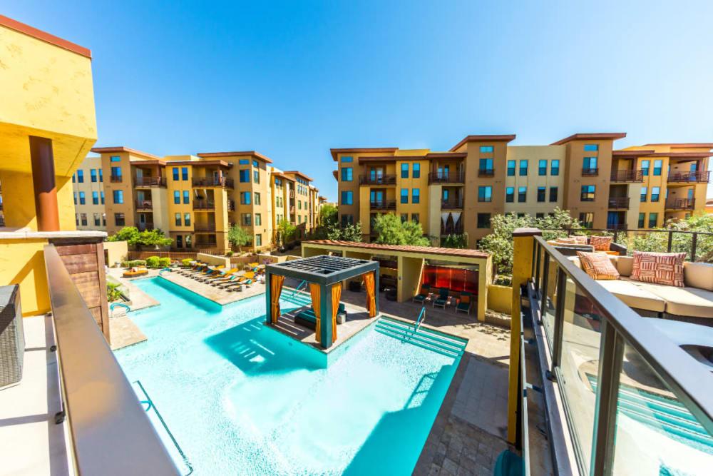 Resort style swimming pool with gazebo at Marquis at Desert Ridge in Phoenix, Arizona