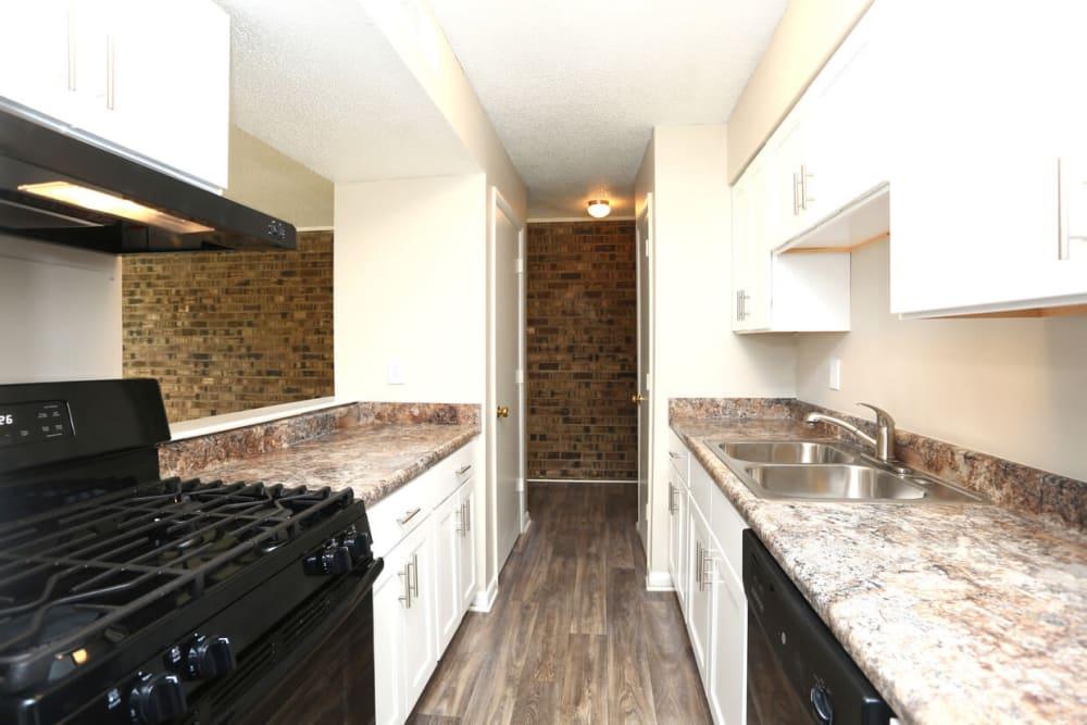 Modern kitchen at Laurel Pines Apartments in Richmond, Virginia