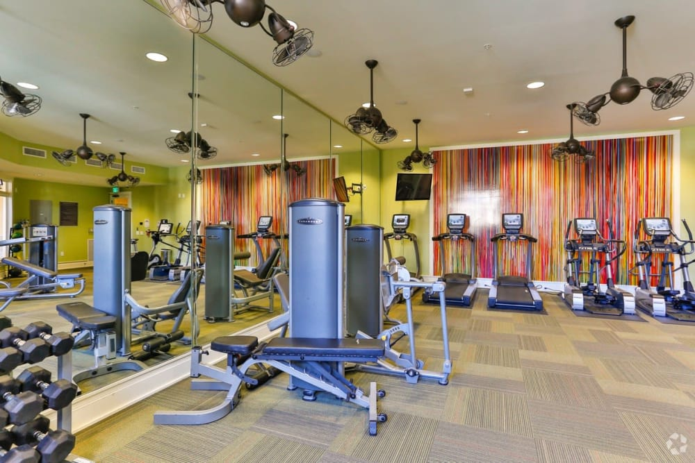 Modern fully sized fitness center at Fountains at Mooresville Town Square in Mooresville, North Carolina
